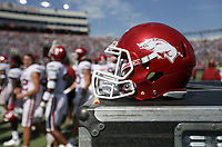A helmet is shown, Saturday, October 9, 2021 during a football game at Vaught Hemingway Stadium in Oxford, Miss. Check out nwaonline.com/211010Daily/ for today's photo gallery. <br /> (NWA Democrat-Gazette/Charlie Kaijo)