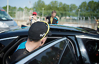 after an hour of protocol, Chris Froome (GBR) is ready to head to the hotel<br /> <br /> Tour de France 2013<br /> stage 14: Saint-Pourçain-Sur-Sioule to Lyon, 191km