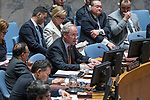 Security Council Holds Emergency Meeting on Syria<br /> Staffan de Mistura (on screen), UN Special Envoy for Syria, briefs the emergency Security Council meeting on the situation in the Middle East, following reports of a chemical weapons attack in Syria.