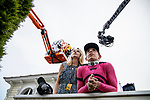 MAY 18: Tyler Gaffalione with his girlfriend watching the replay of War of Will winning the Preakness Stakes at Pimlico Racecourse in Baltimore, Maryland on May 18, 2019. Evers/Eclipse Sportswire/CSM