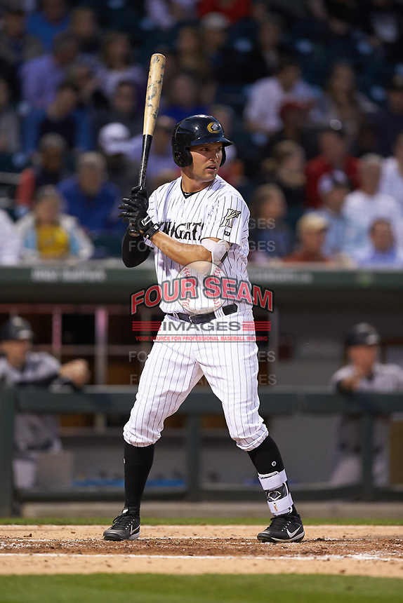 Patrick Leonard (20) of the Charlotte Knights at bat against the Scranton/Wilkes-Barre RailRiders at BB&T BallPark on April 12, 2018 in Charlotte, North Carolina.  The RailRiders defeated the Knights 11-1.  (Brian Westerholt/Four Seam Images)