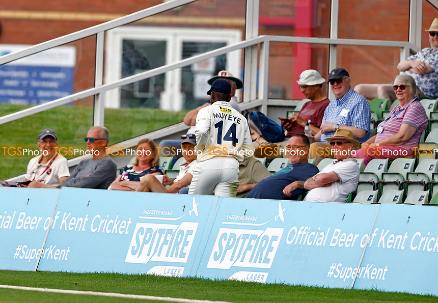 Tawanda Muyeye of Kent retrieves the ball during Kent CCC vs Northamptonshire CCC, LV Insurance County Championship Group 3 Cricket at The Spitfire Ground on 6th June 2021