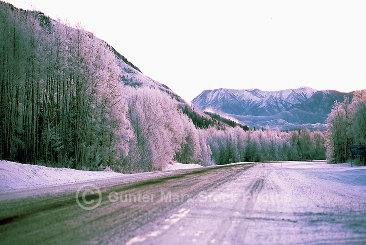 Alaska Highway, Northern Rockies, BC, British Columbia, Canada - at Turnoff to Liard River Hot Springs Provincial Park, Sunset