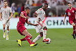 Ismail Salem Alhammadi of United Arab Emirates (R) fights for the ball with Pedro Correia of Qatar (L) during the AFC Asian Cup UAE 2019 Semi Finals match between Qatar (QAT) and United Arab Emirates (UAE) at Mohammed Bin Zaied Stadium  on 29 January 2019 in Abu Dhabi, United Arab Emirates. Photo by Marcio Rodrigo Machado / Power Sport Images