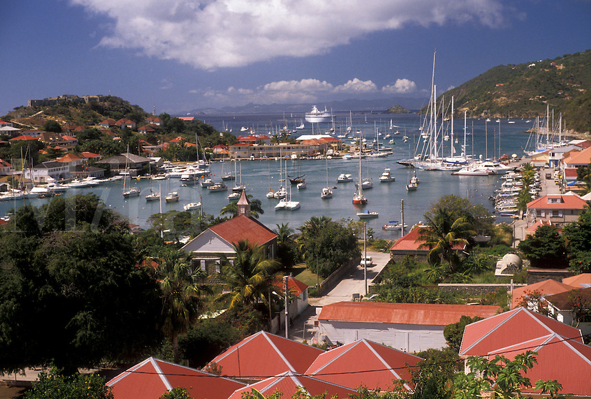 AJ2427, St. Barts, Caribbean, St. Barthelemy, Gustavia, Saint Barts, Caribbean Islands, Scenic aerial view of the harbor on the Caribbean Sea in Gustavia the capital of the island of Saint Barthelemy (a department of Guadeloupe).
