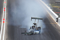Feb 26, 2017; Chandler, AZ, USA; NHRA top fuel driver Terry Haddock goes sideways during the Arizona Nationals at Wild Horse Pass Motorsports Park. Mandatory Credit: Mark J. Rebilas-USA TODAY Sports