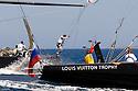 Louis Vuitton Trophy La Maddalena 28 maggio 2010. Azione a bordo durante una spettacolare regata tra Synergy Russian Sailing Team e BMW Oracle