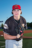 Salem-Keizer Volcanoes pitcher Seth Corry (28) poses for a photo before a Northwest League game against the Hillsboro Hops at Ron Tonkin Field on September 1, 2018 in Hillsboro, Oregon. The Salem-Keizer Volcanoes defeated the Hillsboro Hops by a score of 3-1. (Zachary Lucy/Four Seam Images)