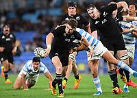 12th September 2021; Cbus Super Stadium, Robina, Queensland, Australia; Rugby International series, New Zealand versus Argentina:  Beauden Barrett gets a flick pass away to a Luke Jacobson for his try.