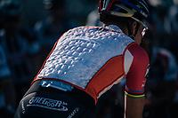 As it is an exceptional mild/warm 23°C mid-oktober in Belgium, Mathieu van der Poel (NED/Beobank-Corendon) is wearing a cooling vest to the start<br /> <br /> Elite Men's Race<br /> CX Super Prestige Zonhoven 2017