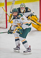 20 February 2016: University of Vermont Catamount Defenseman and Team Captain Yvan Pattyn, a Senior from St. Anne, Manitoba, in third period action against the Boston College Eagles at Gutterson Fieldhouse in Burlington, Vermont. The Eagles defeated the Catamounts 4-1 in the second game of their weekend series. Mandatory Credit: Ed Wolfstein Photo *** RAW (NEF) Image File Available ***