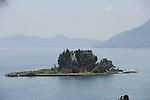 View from Kanoni Peninsula in Corfu, Greece of Mouse Island.