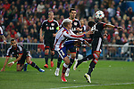 Atletico de Madrid´s Griezmann (L) during the UEFA Champions League round of 16 second leg match between Atletico de Madrid and Bayer 04 Leverkusen at Vicente Calderon stadium in Madrid, Spain. March 17, 2015. (ALTERPHOTOS/Victor Blanco)