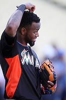 Jose Reyes #7 of the Miami Marlins before a game against the Los Angeles Dodgers at Dodger Stadium on August 24, 2012 in Los Angeles, California. Los Angeles defeated Miami 11-4. (Larry Goren/Four Seam Images)