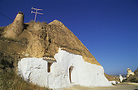 House at Guadix, troglodyte settlement near Granada, Andalusia/Andalucia, Spain.  These houses have been hollowed out of soft tufa ston