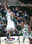 North Texas Mean Green forward Kedrick Hogans (24) blocks out Jackson State Tigers guard Jenirro Bush (5) in the game between the Jackson State Tigers and the University of North Texas Mean Green at the North Texas Coliseum,the Super Pit, in Denton, Texas. UNT defeated Jackson 68 to 49