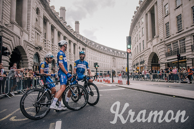 Afyer finishing (and losing) the last stage, Fernando Gaviria (COL/Quick-Step Floors), Iljo Keisse (BEL/Quick-Step floors) & Ariel Maximiliano Richeze (ARG/Quick-Step Floors) discuss where things went wrong (in Regent Street)<br /> <br /> Stage 8: London to London (77km)<br /> 15th Ovo Energy Tour of Britain 2018