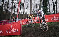 CX world champion Mathieu Van der Poel (NED/Alpecin-Fenix) followed closely by Wout van Aert (BEL/Jumbo-Visma)<br /> <br /> Men's Race<br /> UCI Cyclocross World Cup Namur 2020 (BEL)<br /> <br /> ©kramon
