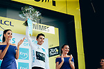 Egan Bernal (COL) Team Ineos retains the young riders White Jersey at the end of Stage 16 of the 2019 Tour de France running 177km from Nimes to Nimes, France. 23rd July 2019.<br /> Picture: ASO/Thomas Maheux   Cyclefile<br /> All photos usage must carry mandatory copyright credit (© Cyclefile   ASO/Thomas Maheux)