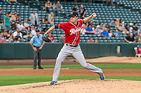 Tacoma Rainiers starting pitcher Tyler Olson (31) delivers a pitch to the plate against the Salt Lake Bees in Pacific Coast League action at Smith's Ballpark on September 1, 2015 in Salt Lake City, Utah. The Bees defeated the Rainiers 10-1.  (Stephen Smith/Four Seam Images)