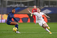 Swiss Geraldine  Reuteler (6) pictured in action with French Grace Geyoro (8) during the Womens International Friendly game between France and Switzerland at Stade Saint-Symphorien in Longeville-lès-Metz, France.