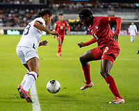 HOUSTON, TX - JANUARY 31: Lynn Williams #13 of the USA makes a mover against Maria Murillo #6 of Panama during a game between Panama and USWNT at BBVA Stadium on January 31, 2020 in Houston, Texas.