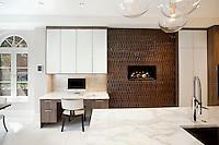 Desk next to fireplace