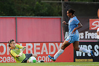 Goalkeeper Erin McLeod (18) of the Washington Freedom denies Rosana (11) of Sky Blue FC a scoring chance. Sky Blue FC and the Washington Freedom played to a 0-0 tie during a Women's Professional Soccer (WPS) match at Yurcak Field in Piscataway, NJ, on July 7, 2010.