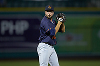 Bowling Green Hot Rods relief pitcher Michael Costanzo (14) looks to his catcher for the sign against the Fort Wayne TinCaps at Parkview Field on August 20, 2019 in Fort Wayne, Indiana. The Hot Rods defeated the TinCaps 6-5. (Brian Westerholt/Four Seam Images)