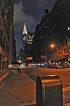 The Chrysler Building, shown here before sunrise, was the glamour queen of the city before the Empire State Building took its place.  Like the lone mail box, it may soon become obsolete.