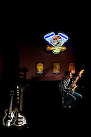 A performer warms up before going on stage at the Alleycat bar in Charlotte, NC. Photos taken with permission of bar management.