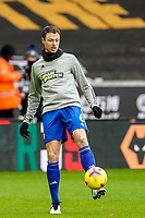 7th February 2021; Molineux Stadium, Wolverhampton, West Midlands, England; English Premier League Football, Wolverhampton Wanderers versus Leicester City; Jonny Evans of Leicester City warms-up prior to the match