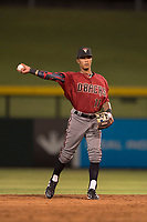 AZL Diamondbacks second baseman Marshawn Taylor (11) makes a throw to first base during an Arizona League game against the AZL Cubs 1 at Sloan Park on June 18, 2018 in Mesa, Arizona. AZL Diamondbacks defeated AZL Cubs 1 7-0. (Zachary Lucy/Four Seam Images)