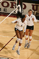 27 September 2007: Stanford Cardinal Franci Girard (6) and Bryn Kehoe (4) during Stanford's 30-21, 30-27, 30-21 win against the USC Trojans at Maples Pavilion in Stanford, CA.