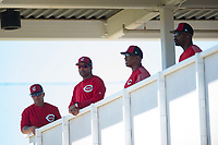 Cincinnati Reds coaches including Barry Larkin (second from left) during Minor League Spring Training games against the Chicago White Sox at the Cincinnati Reds Training Complex on March 28, 2018 in Goodyear, Arizona. (Zachary Lucy/Four Seam Images)