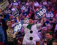 21.12.2014.  London, England.  William Hill PDC World Darts Championship.  Darts fans at the 2015 William Hill World Darts Championship.