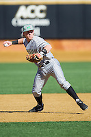 Aaron Bossi (17) of the Marshall Thundering Herd takes ground balls prior to the game against the Georgetown Hoyas at Wake Forest Baseball Park on February 15, 2014 in Winston-Salem, North Carolina.  The Thundering Herd defeated the Hoyas 5-1.  (Brian Westerholt/Four Seam Images)