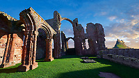 The Anglo Saxon Romanesque Lindisfarne Abbey ruins,  Holy Island, Lindisfarne, Northumbria, England