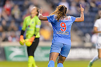 Chicago, IL - Saturday July 30, 2016: Stephanie McCaffrey celebrates scoring during a regular season National Women's Soccer League (NWSL) match between the Chicago Red Stars and FC Kansas City at Toyota Park.