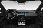 Stock photo of straight dashboard view of 2020 Land Rover Range-Rover-Evoque SE 5 Door SUV Dashboard