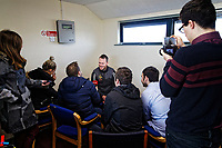 Pictured: Manager Michael Flynn holds a press conference. Thursday 18 January 2018<br /> Re: Players and staff of Newport County Football Club prepare at Newport Stadium, for their FA Cup game against Tottenham Hotspur in Wales, UK