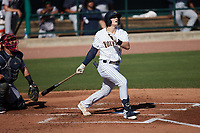 Nick Schnell (7) of the Charleston RiverDogs follows through on his swing against the Augusta GreenJackets at Joseph P. Riley, Jr. Park on June 27, 2021 in Charleston, South Carolina. (Brian Westerholt/Four Seam Images)