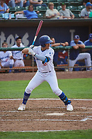 Miguel Vargas (18) of the Ogden Raptors bats against the Idaho Falls Chukars at Lindquist Field on July 2, 2018 in Ogden, Utah. The Raptors defeated the Chukars 11-7. (Stephen Smith/Four Seam Images)