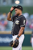Charlotte Knights first baseman Dayan Viciedo (41) on defense against the Gwinnett Braves at BB&T BallPark on August 11, 2015 in Charlotte, North Carolina.  The Knights defeated the Braves 3-2.  (Brian Westerholt/Four Seam Images)