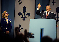 Montreal (QC) CANADA, October 30, 1995..File Photo - ..Parti Quebecois (PQ) Leader Jacques Parizeau wave at PQ supporter during Referendum night at Montreal's Convention Centre, October 30, 1995...Parizeau blame the defeat on money and ethnic vote, he resigned few day later and was replaced by Lucien Bouchard......Photo by Pierre Roussel / Images Distribution........