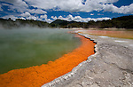 The brilliantly coloured orange-rimmed Champagne Pool at the geothermal site, Wai-O-Tapu Thermal Wonderland, near Rotorua on the North Island of New Zealand.