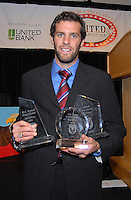 Ben Olsen displays his awards: goal of the year, coaches' award and fans' choice award.  DC United 4th Annual Awards Reception honoring player achievements for the 2007 season took place at the Ronald Reagan Building in Washington, DC on October 22, 2007.