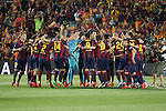 Barcelona´s /players celebrate after winning the 2014-15 Copa del Rey final match between Barcelona and Athletic de Bilbao at Camp Nou stadium in Barcelona, Spain. May 30, 2015. (ALTERPHOTOS/Victor Blanco)