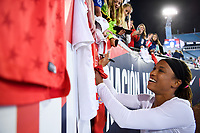 JACKSONVILLE, FL - NOVEMBER 10: Jessica McDonald #22 of the United States signs autographs for fans during a game between Costa Rica and USWNT at TIAA Bank Field on November 10, 2019 in Jacksonville, Florida.