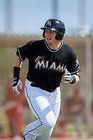 GCL Marlins designated hitter Chad Wallach (49) runs to first base during a game against the GCL Cardinals on August 4, 2018 at Roger Dean Chevrolet Stadium in Jupiter, Florida.  GCL Marlins defeated GCL Cardinals 6-3.  (Mike Janes/Four Seam Images)